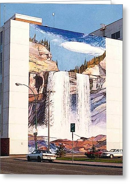Greeting Card featuring the painting Kakwa Falls Mural  by Tim  Heimdal