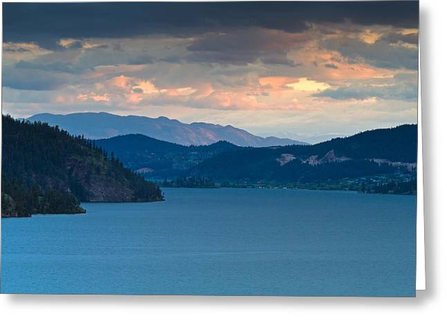 Kalamalka Lake Sunset Greeting Card by Michael Russell