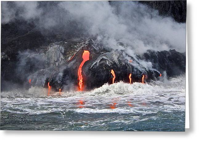 Lava Falls At Kalapana Greeting Card by Venetia Featherstone-Witty