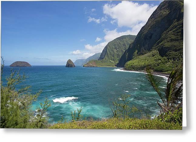 Kalaupapa Peninsula, Molokai, Hawaii Greeting Card by Douglas Peebles
