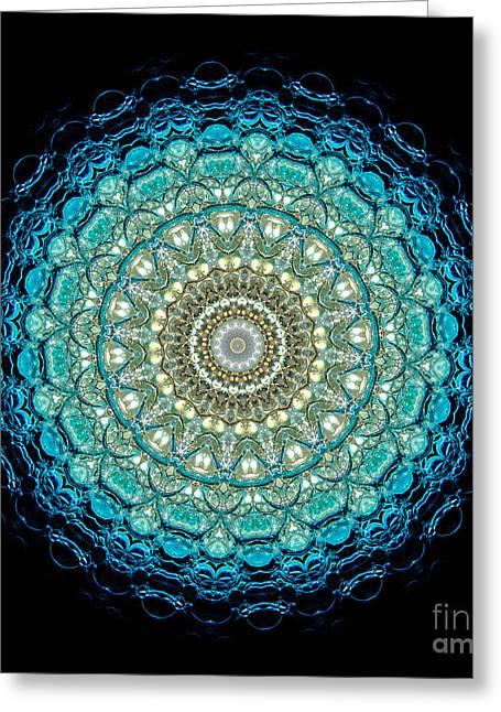 Kaleidoscope Aquamarine Bubbles Greeting Card by Amy Cicconi