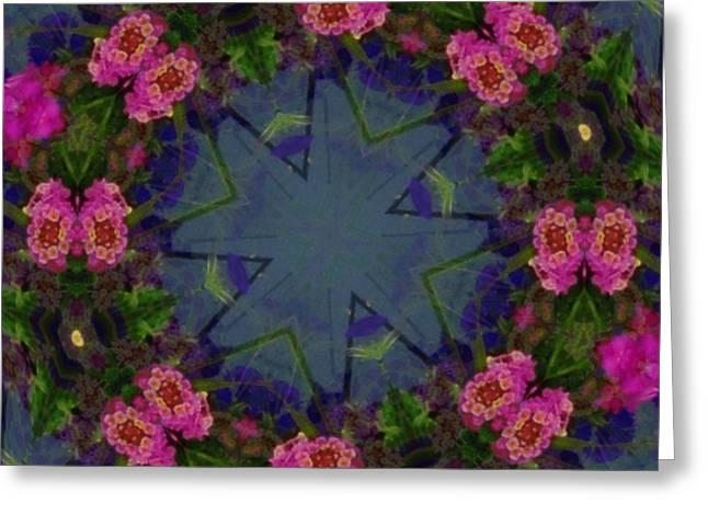 Kaleidoscope Lantana Wreath Greeting Card by Cathy Lindsey