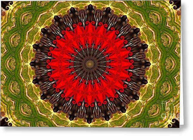 Kaleidoscope Leaves Greeting Card by Suzanne Handel