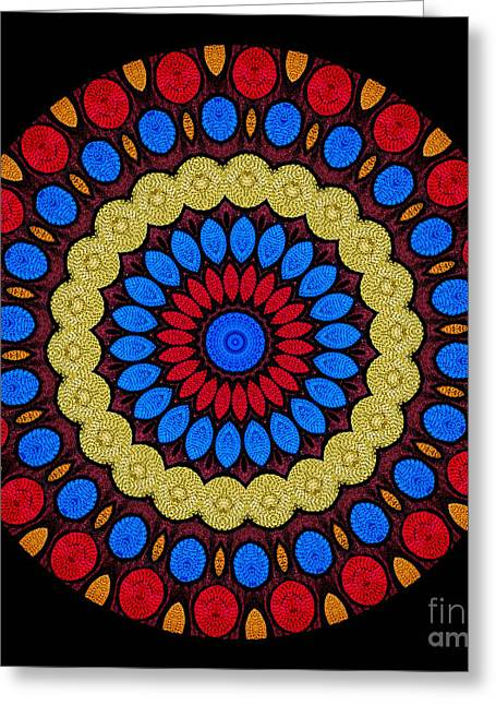 Kaleidoscope Of Colorful Embroidery Greeting Card by Amy Cicconi