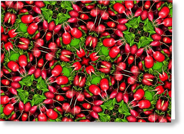Kaleidoscope Radishes Greeting Card by Amy Cicconi