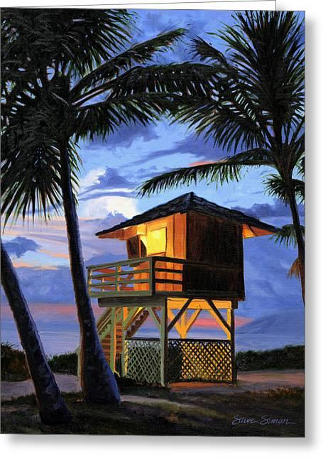 Kamaole Beach - Nocturne Greeting Card by Steve Simon