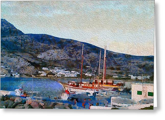 Kamares Port Greeting Card by Laurence Canter