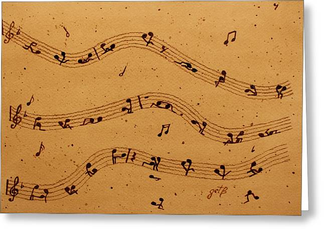 Kamasutra Music Coffee Painting Greeting Card by Georgeta  Blanaru