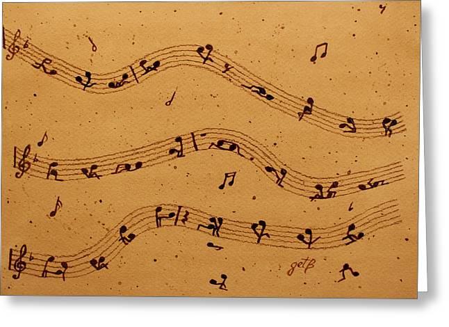 Kamasutra Music Coffee Painting Greeting Card