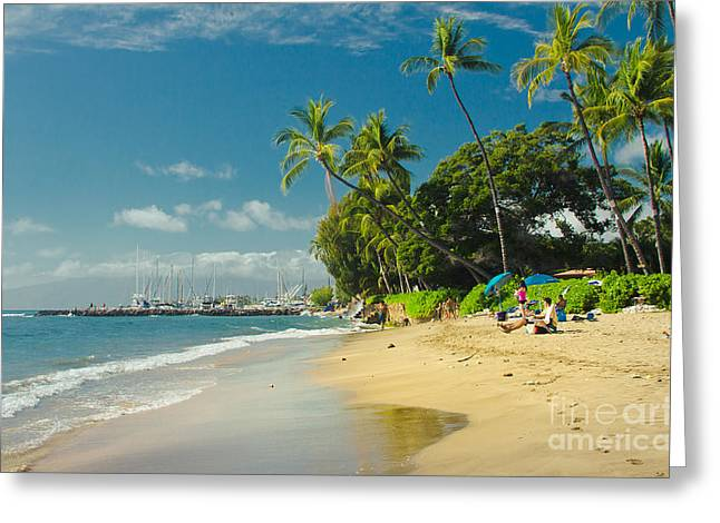 Kamehameha Iki Park Beach Lahaina Maui Hawaii  Greeting Card by Sharon Mau