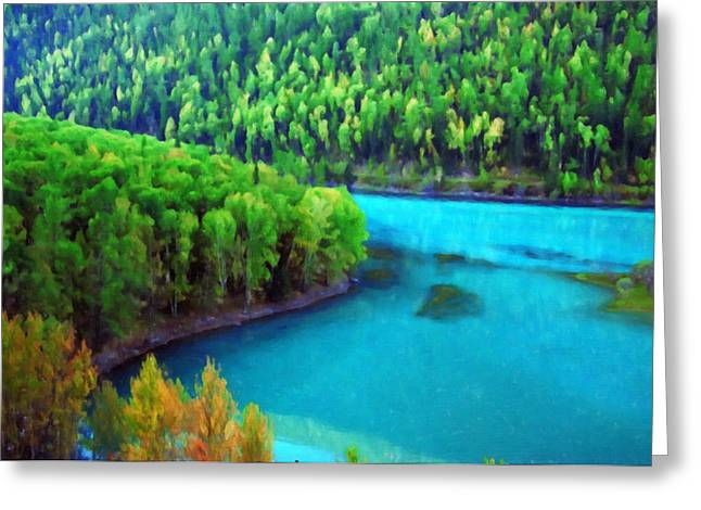 Kanas River In Autumn 3 Greeting Card