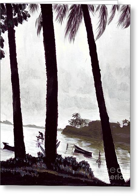 Greeting Card featuring the painting Kaneohe Bay From Bus Stop by Mukta Gupta