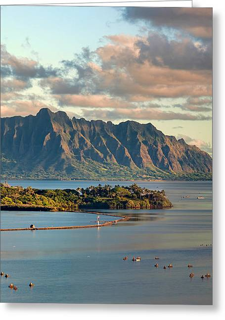 Kaneohe Bay Panorama Mural 2 Of 5 Greeting Card