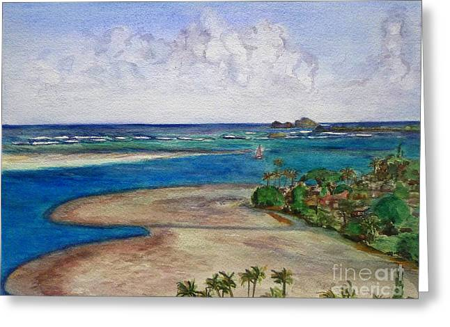 Greeting Card featuring the painting Kaneohe Bay View From The Roof by Mukta Gupta
