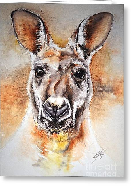 Kangaroo Big Red Greeting Card by Sandra Phryce-Jones