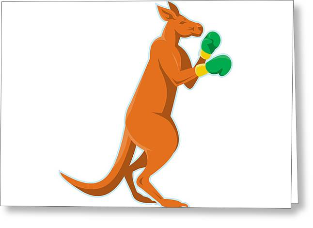 Kangaroo Boxer Boxing Retro Greeting Card by Retro Vectors
