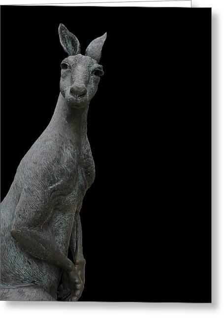 Kangaroo Smith On Black Greeting Card by Gregory Smith