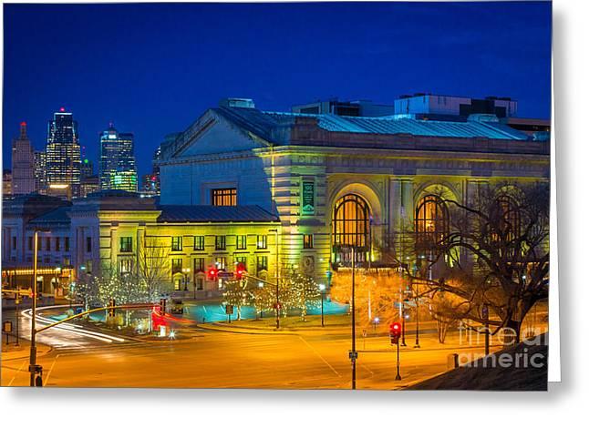 Kansas City By Night Greeting Card by Inge Johnsson