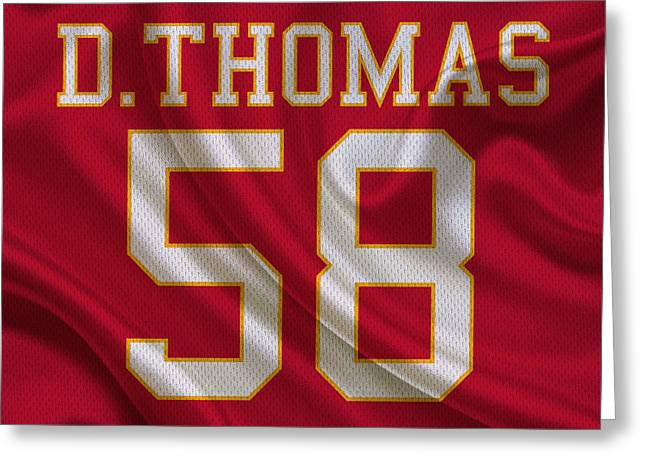 Kansas City Chiefs Derrick Thomas Greeting Card by Joe Hamilton
