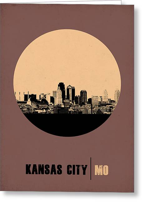 Kansas City Circle Poster 2 Greeting Card by Naxart Studio