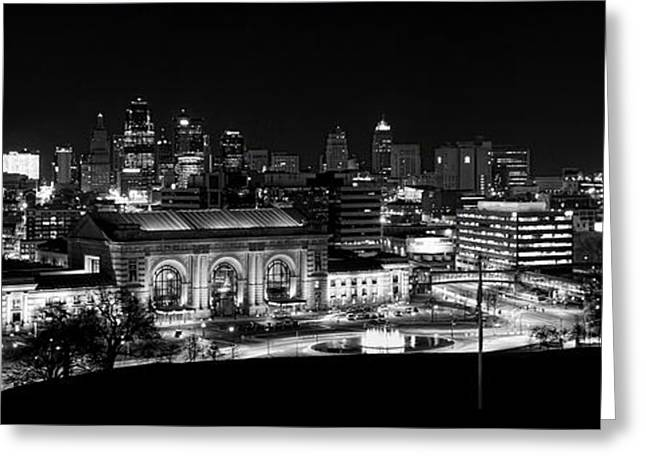 Kansas City In Black And White Greeting Card