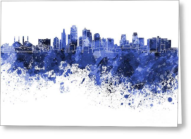 Kansas City Skyline In Blue Watercolor On White Background Greeting Card by Pablo Romero
