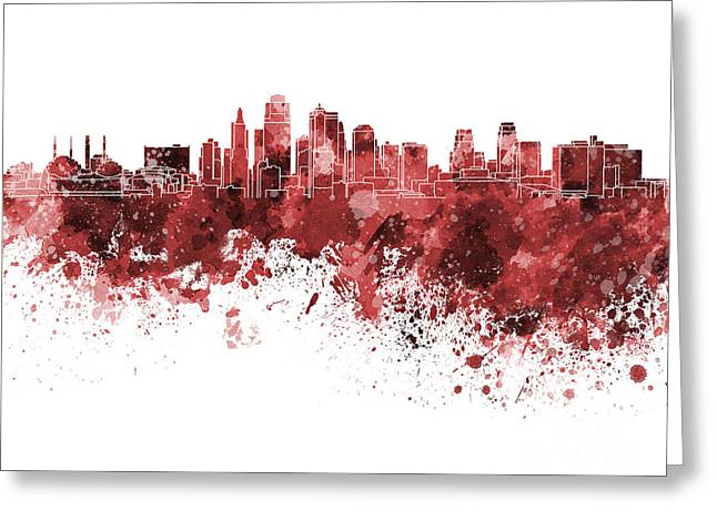 Kansas City Skyline In Red Watercolor On White Background Greeting Card by Pablo Romero