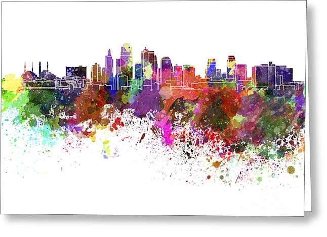 Kansas City Skyline In Watercolor On White Background Greeting Card by Pablo Romero
