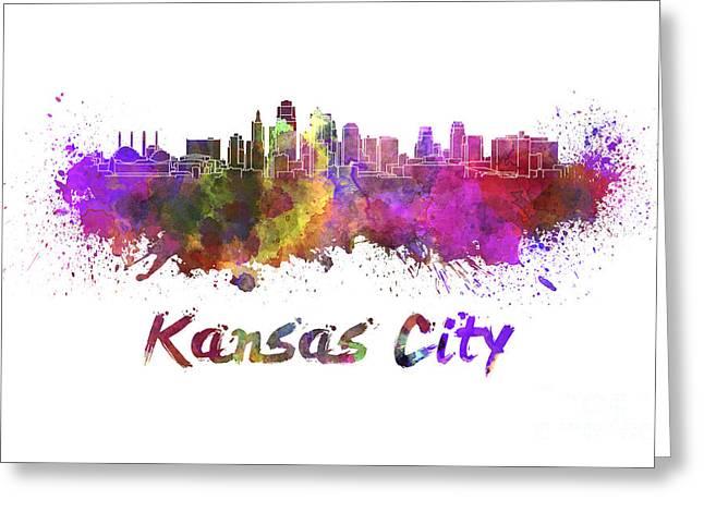 Kansas City Skyline In Watercolor Greeting Card by Pablo Romero