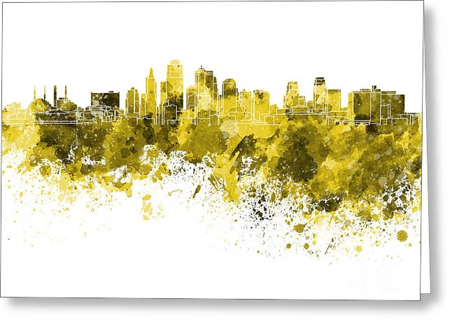Kansas City Skyline In Yellow Watercolor On White Background Greeting Card by Pablo Romero