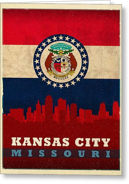 Kansas City Skyline State Flag Of Missouri Art Poster Series 008 Greeting Card