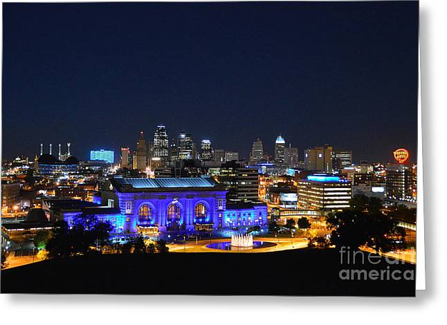 Kansas City Union Station In Blue  Greeting Card by Catherine Sherman