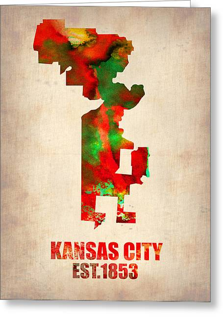Kansas City Watercolor Map Greeting Card by Naxart Studio