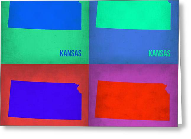 Kansas Pop Art Map 3 Greeting Card by Naxart Studio