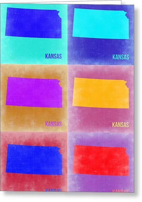 Kansas Pop Art Map 4 Greeting Card by Naxart Studio
