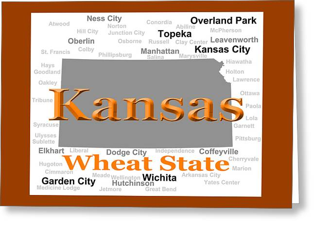 Kansas State Pride Map Silhouette  Greeting Card by Keith Webber Jr