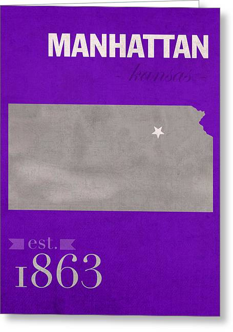 Kansas State University Wildcats Manhattan Kansas College Town State Map Poster Series No 052 Greeting Card