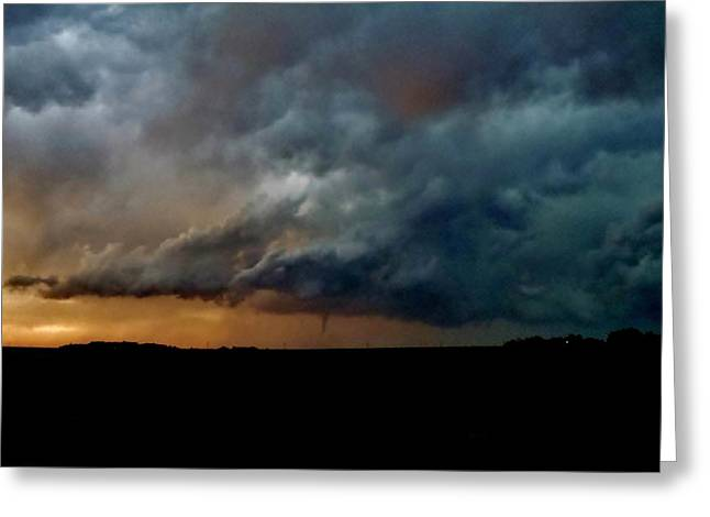 Greeting Card featuring the photograph Kansas Tornado At Sunset by Ed Sweeney