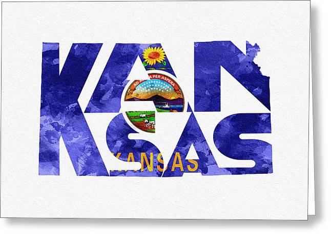 Kansas Typographic Map Flag Greeting Card