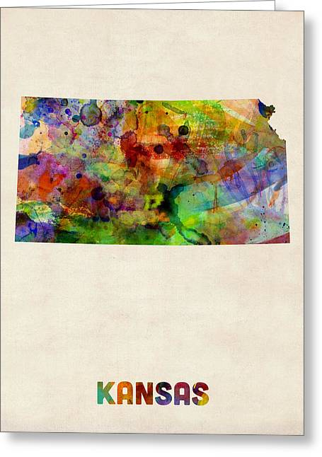 Kansas Watercolor Map Greeting Card