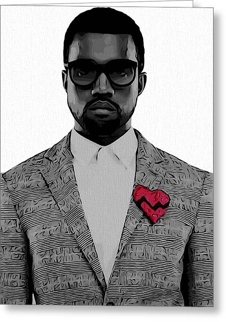 Kanye West  Greeting Card by Dan Sproul