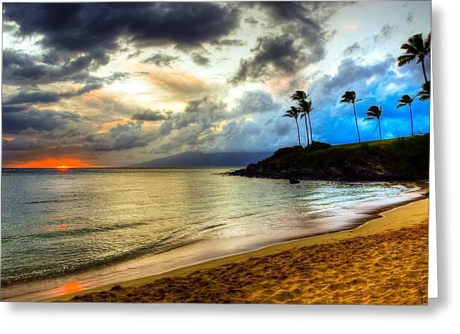 Kapalua Bay Sunset Greeting Card by Kelly Wade