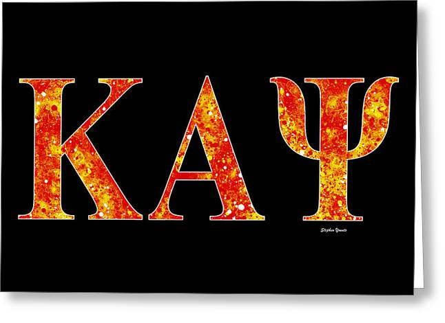 Greeting Card featuring the digital art Kappa Alpha Psi - Black by Stephen Younts