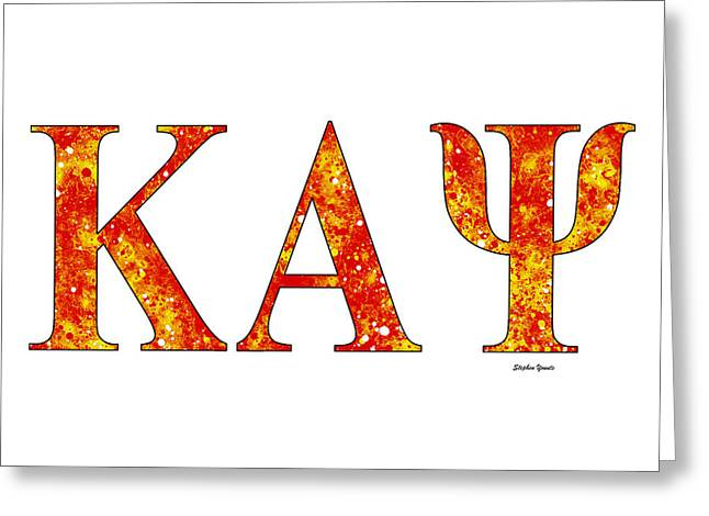 Greeting Card featuring the digital art Kappa Alpha Psi - White by Stephen Younts