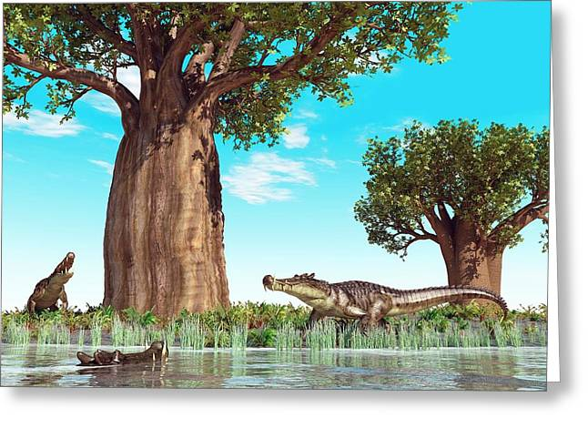 Kaprosuchus Prehistoric Crocodiles Greeting Card by Walter Myers