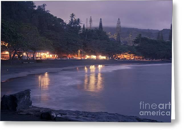 Kapueokahi - Hana Bay - Sunset Hana Maui Hawaii Greeting Card by Sharon Mau