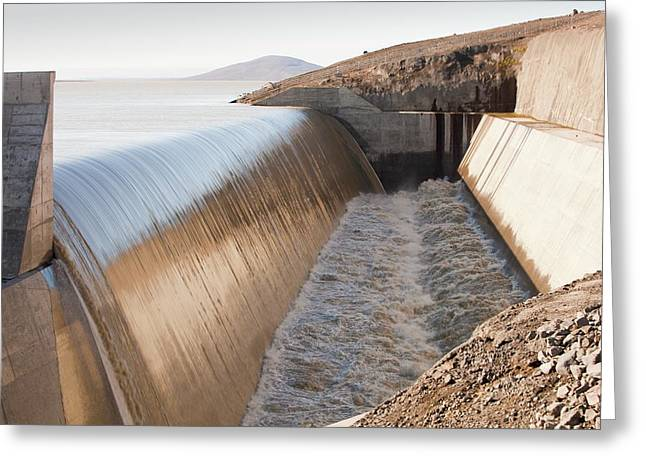 Karahnjukar Dam Overflow Greeting Card by Ashley Cooper