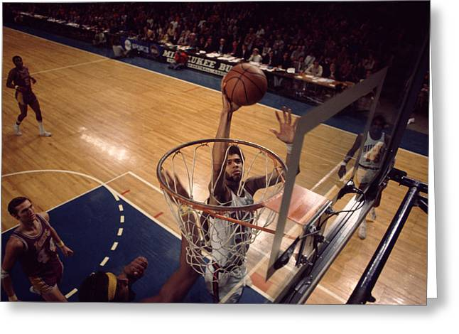 Kareem Abdul Jabbar Easy Layup Greeting Card by Retro Images Archive