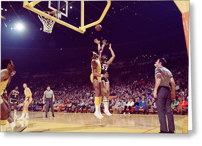Kareem Abdul Jabbar  Greeting Card by Retro Images Archive
