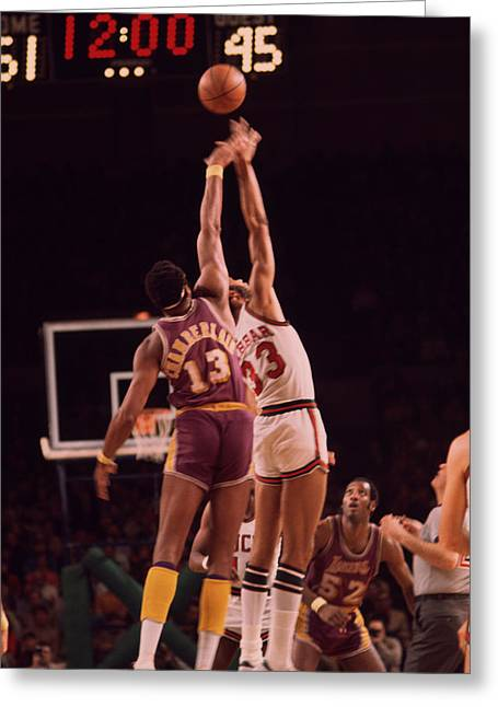 Kareem Abdul Jabbar Vs. Wilt Chamberlain Jump Off Greeting Card by Retro Images Archive